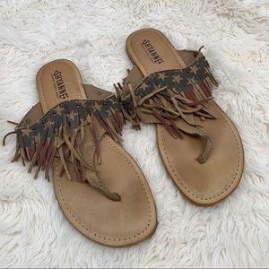 Shyanne Distressed Rugid Patriotic Sandals Size 9